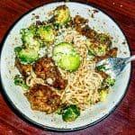 Crock pot general tso chicken in a bowl