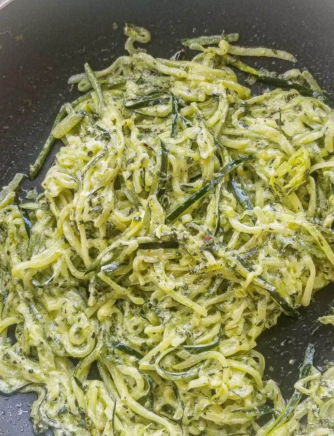 Creamy Pesto Zoodles-No Spiraler Needed!